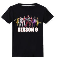 フォートナイト fortnite 子供服  シーズン9 プリントTシャツ ユニセックス カジュアル半袖Tシャツ トップス   ブラック