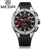 Megir メンズ腕時計 クロノグラフ シリコーンストラップ クォーツ時計 海外高級トップブランド シルバー