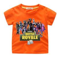 フォートナイト fortnite 子供服  プリントTシャツ ユニセックス カジュアル半袖Tシャツ トップス  オレンジ