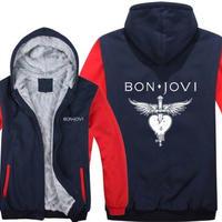 高品質  ボンジョビ Bon Jovi   あったかい フリースパーカー ジップアップ  衣装 コスチューム 小道具 海外限定  コスプレ  4