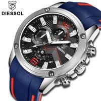 DIESSOL  高級ブランド メンズ腕時計  防水 海外インポートブランド メンズクォーツ ラバーベルト カラバリ5色