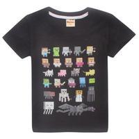 マインクラフト Minecraft  子供服  モンスター キャラクター プリントTシャツ ユニセックス カジュアル半袖Tシャツ トップス  マイクラ  ブラック
