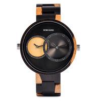 【BOBO BIRD】BOBO BIRD R10 メンズ 2タイムゾーン 木製腕時計 軽量 ラグジュアリー クォーツ腕時計 ファッションデザイン 腕時計 メンズ イエロー【自然に優しい天然木】