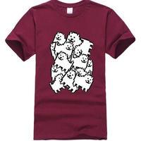 ゲームグッズ アンダーテール Undertale   Annoying dog たくさん うざい犬  大量 うざいイヌ Tシャツ  ダークレッド