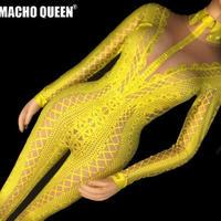 ドラァグクイーン  ヌードプリント ボディスーツ 衣装 ハロウィン ダンスステージ衣装パフォーマンス 女性歌手 ステージ ビッグ ストレッチ ジャンプスーツ  2