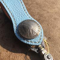 FUNNY Arrow head loop key holder shrink  leather(アクア)