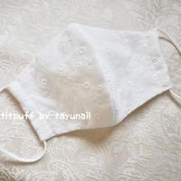 小花柄コットンレースx肌側高級シルク布マスク
