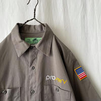 """"""" RED KAP """" """" PRO SERV """" S/S 刺繍 Cotton Work Shirts  with Reflector"""