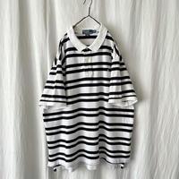 "▪️ "" Polo Ralph Lauren ""  White × Black Cotton Border Polo  ▪️"