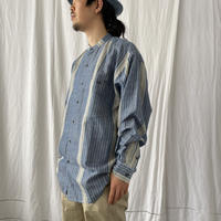 """"""" Cotton × Linen """" L/S Stand Collar Striped Shirts"""