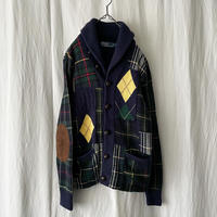 """""""Polo Ralph Lauren """" Crazy Patch Work Shawl Collar Knit Cardigan with Lambs Suede Elbow Patch"""