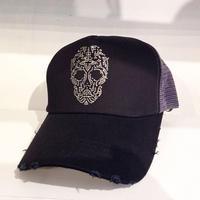 NIAC original skull ダメージメッシュCAP ブラックダイヤ