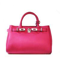 クロア付き2WAYレザーミニバッグ (25cm) ピンク