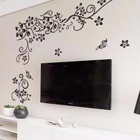 3Dウォールステッカー 花柄 つた つる 黒 自然 お洒落シール DIY デコ キッチン 寝室 リビング トイレ 子供部屋