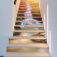 3D ウォールステッカー 階段用 13ピースセット 滝 街 外国 景色 シール デカール お洒落 DIY 模様替 インテリア