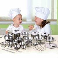 最高級 おままごとセット ステンレス ミニチュア調理器具 40個 本格 壮大 フライパン ケトル 鍋 シェフ お玉 泡だて器 知育玩具 プレゼント