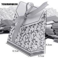 新品送料込 ギフトボックス 50個セット 白×シルバー リボン付 バレンタイン お誕生日会 結婚式 ラッピング プレゼント