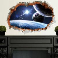 3Dウォールステッカー 壁穴からの景色 宇宙 銀河 惑星 お洒落シール DIY キッチン 寝室 リビング トイレ 子供部屋