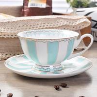新品送料込 ティーカップ 220ml ソーサー スプーン ストライプ 3点セット 磁器 コーヒー お茶会に 食器 高級装飾 贈り物