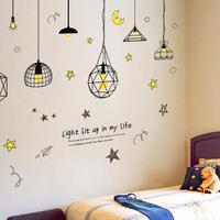 ウォールステッカー ペンダントランプ 夜 星空 お洒落シール DIY キッチン 寝室 リビング トイレ 子供部屋