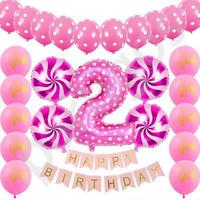 """デコレーション風船 """"HAPPY BIRTHDAY"""" 2歳 誕生日おめでとう 飾り パーティ ふうせん バルーン ヘリウム"""
