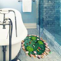 3D ウォールステッカー フロア用 池 鯉 蓮子 自然 石 お洒落シール DIY キッチン 寝室 リビング トイレ 子供部屋