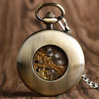 レトロ ヴィンテージ 絶妙なスケルトンデザイン ギフトにも 機械式懐中時計