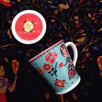 新品送料込 マグカップ 蓋付 セラミック 食器 ダンシングガール フレンチスタイル 海外 高級 おしゃれ お茶 コーヒー ココア
