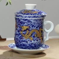 新品送料込 ティーカップ 260ml ソーサー お茶フィルター レトロ ドラゴン柄 セット 磁器 コーヒー お茶会に 食器 高級装飾 贈り物