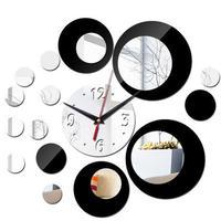 新品送料込★ 時計 壁掛け 3D 鏡 ミラー 丸型 ドット 北欧モダン DIY お洒落 面白 輸入雑貨 インテリア 高性能