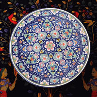 新品送料込 皿 セラミック 食器 青×ピンク 多色 エスニック レトロ おしゃれ 高級 ホームパーティ