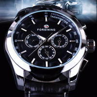 FORSINING 4カラー展開 ビジネスにも最適 本革ストラップ 高級自動時計 メンズ時計