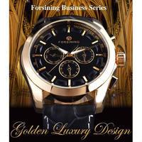 FORSINING 4カラー展開 レトロ調 豪華装飾 本革バンド ラグジュアリー 自動機械時計