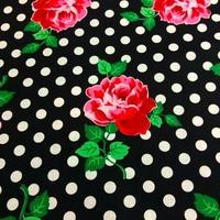 水玉と薔薇 (Black)  ※15cm x 15cm