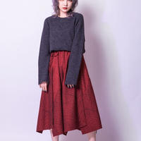 Distortion knit one-piece (GRAY , RED , BLACK)