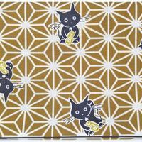 019BR-GWM-B 麻の葉 猫に小判 黄土 (御朱印帳約16cmx11.5cm対応)