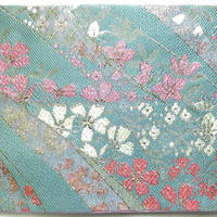 002GR-GWK-B 金襴 佐賀錦調 金銀しだれ桜 セイジ (御朱印帳約16cmx11.5cm対応)