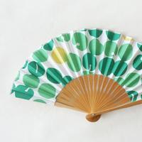 扇子|梅絞り 緑