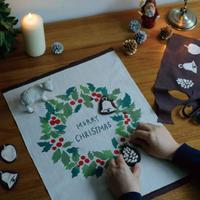 手ぬぐい|クリスマス・リース