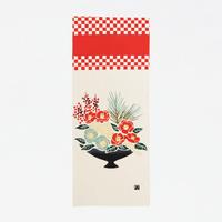 手ぬぐい|葉牡丹と椿