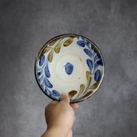 7013066【榮一工房】飴・呉須 蔦唐草 5寸 浅鉢⑥
