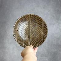 やちむん 【南陶窯】灰釉 線紋 中皿