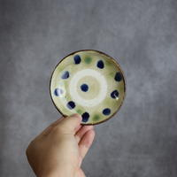 7004003 【北窯 松田共司工房】緑釉・呉須 点打 3.5寸皿②
