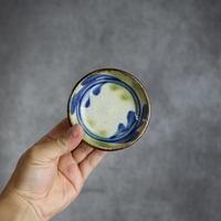 7006006 【陶芸こまがた】3寸皿  デイゴ柄(青・緑)