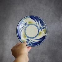 7006009 【陶芸こまがた】5寸皿 唐草模様(青・緑)