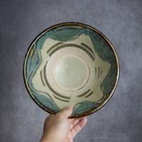 7013058 【榮一工房】緑釉・指掻 7寸鉢