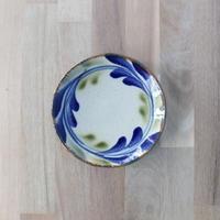 【陶芸こまがた】5寸皿 デイゴ柄(青・緑)