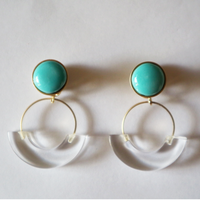 七宝semicircle_emerald green pierce/earring