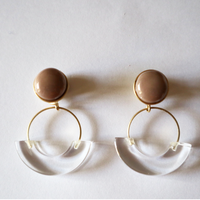 七宝semicircle_beige pierce/earring