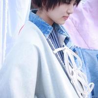 青く色っぽい彼女のデニム・リボンビッグジャケット / nisai
